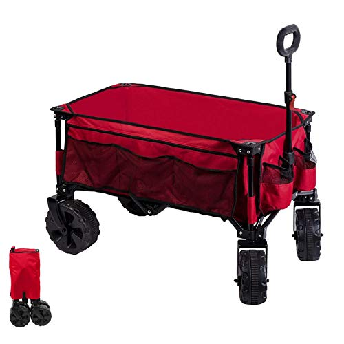 Timber Ridge Folding Wagon Collapsible Utility Trolley Outdoor Cart for Camping Garden Beach All Terrain with Side Bag & Cup Holders Red