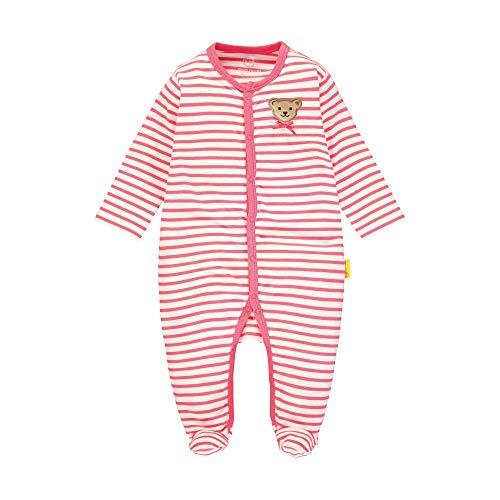 Steiff Baby-Mädchen mit Streifen und Teddybärmotiv Strampler, Rosa (Pink Dove 2203), 80 (Herstellergröße: 080)