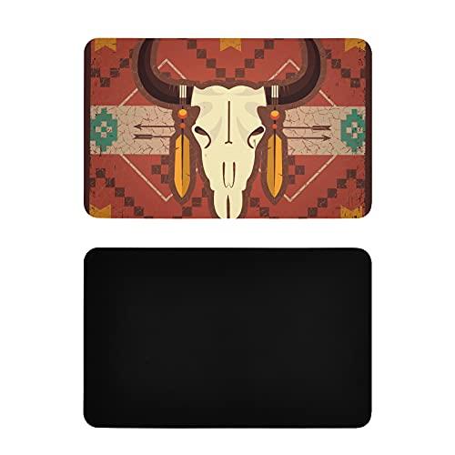 Imanes Cuadrados para Nevera,diseño étnico Nativo Americano,diseño de Calavera de Toro,para lavavajillas,Cubierta Decorativa,PVC Personalizado,imanes Personalizados para Nevera,4 x 2,5 Pulgadas