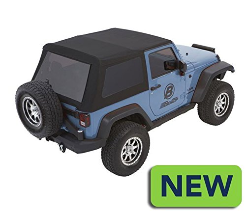 Bestop 5492217 Black Twill Trektop NX Glide Convertible Soft Top for 2007-2018 Wrangler JK 2-door