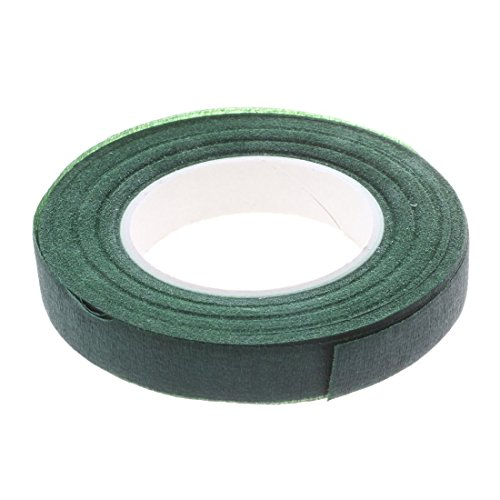 Huante Floral Stem with Self-Adhesive Paper Tape 30 Yards 12 mm for Artificial Silk Flower Garlands DIY Crafts (Dark Green)