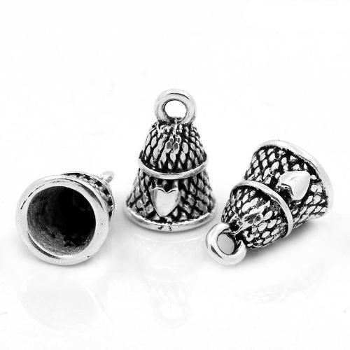 Pacco 10 x Argento Antico Tibetano 19mm Ciondoli Pendente (Ditale) - (ZX04575) - Charming Beads