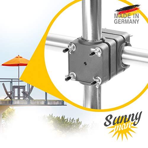 Sonnenschirmhalter Balkongeländer - Sunnyman, der Solide - Platzsparender Sonnenschirmständer Balkon für Schirme bis Ø 3,0m, platzsparend und stabil - Made in Germany