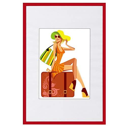 WOLTU #315 Bilderrahmen Bildergalerie Fotogalerie, Foto Collage Galerie, Kunststoff und Echtglas, New Life Style, Rot, 18x24 cm
