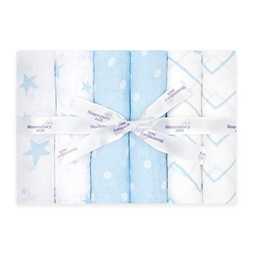 Bloomsbury Mill - Muselinas de Alta Calidad - 100% Algodón Orgánico Puro - Estampado de Estrellas, Espiga y Lunares – Azul y Blanco - Juego de 6 - 70 x 70cm