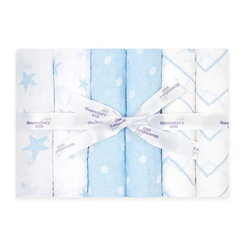 Bloomsbury Mill - Confezione da 6 teli quadrati in mussola - 100% puro cotone biologico - 70cm x 70cm - Stelle, zig-zag e pois - celeste (azzurro) e bianco