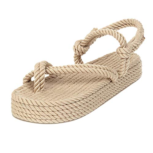 Sandalen Schuhe Frauen Böhmische Flache Leinen Seil Plattform Weibliche Open Toe Slip-On Schuhe (37,2beige)