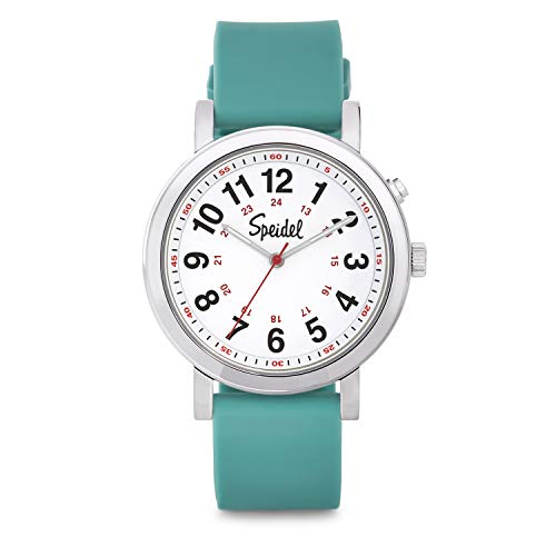 Speidel Scrub Glow Watch for Medical Professionals with Scrub Matching Teal Silicone Band, Easy to Read Light Up Dial, Second Hand, Military Time for Nurses, Doctors, Students