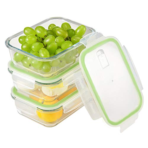 Contenedores de almacenamiento de alimentos de vidrio - 3 juegos (36 onzas) - Cajas de almuerzo a prueba de fugas, sin BPA, congelador a horno, microondas, congelador y lavavajillas