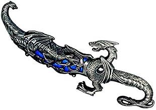Adaga Punhal Dragão Chinês Faca Decoração Aço + Pingente Chave - 25cm