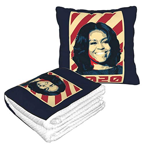 Michelle Obama President 2020 - Manta de viaje y almohada 2 en 1, fácil de transportar, almohada de cuello de viaje y manta
