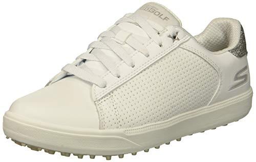 Skechers Women's Drive 4 Spikeless Waterproof Golf Shoe, White/Silver, 8 M US