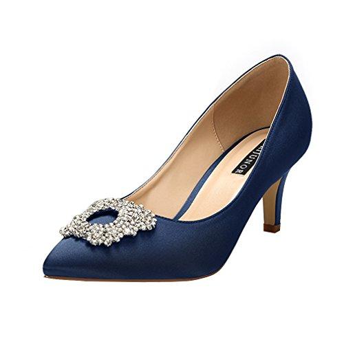ERIJUNOR E1604 Women Pumps Low Heel Rhinestone Brooch Satin Evening Dress Wedding Shoes Navy Blue Size 9.5
