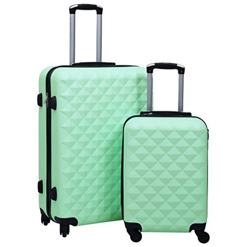 vidaXL Juego de Maletas Rígidas con Ruedas 2 Piezas Trolley con Candado Equipaje de Cabina de Viaje de Mano Duraderas y Ligeras ABS Verde Menta