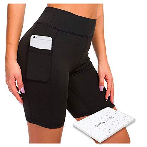 ShyaWorld Mallas Leggins Mujer Deportivos Fitness Pantalones Yoga de Alta Cintura Elásticos y Transpirables para Yoga Running (CON BOLSILLO NEGRO CORTO, M)