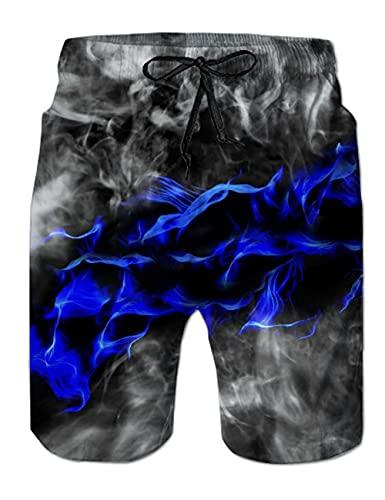 Idgreatim Herren Teens Bademode 3D Bunte Rauch Grafik Shorts Badehose Sommer Strand Shorts Badehose XL