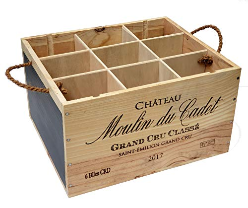 Wooden Wine Crate Bottle Rack Multi-Use Carrier Storage Box Holder with Chalkboard Dividers Rope Handles