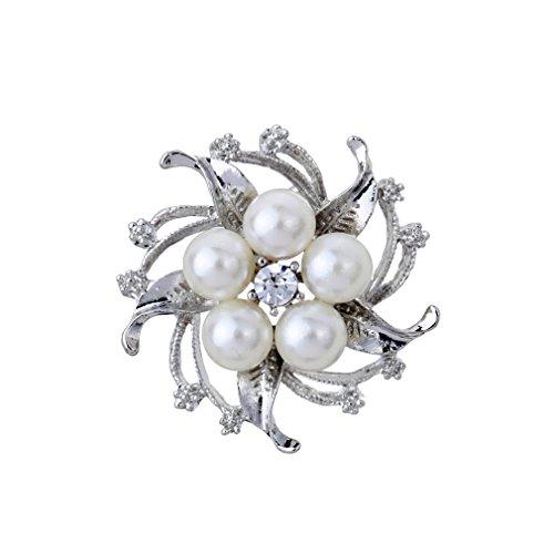 YAZILIND Schmuck Fleur Brosche silbrig Mit Unecht Perle Kristall