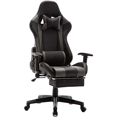 EDWELL Home Office Chair Gaming Chair with Footrest,High Back Computer Gaming Chair, Racing Style Ergonomic Chair PU Leather Desk Chair with Headrest and Massage Lumbar Support, Gray chair gaming gray