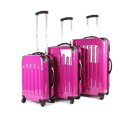 Rose vif Aero Voyage 1100 Série London Collection Ensemble de 3 valises – 360 ° 4 roues Sac de voyage valises – Coque rigide ABS PC film