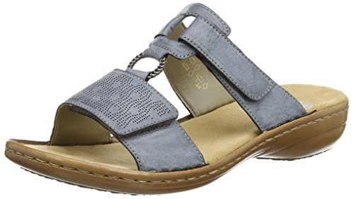Rieker Damen Sandalen 60885, Frauen Clogs, Pantoletten, Ladies feminin elegant Women\'s Woman Freizeit leger Slipper,Azur / 12,40 EU / 6.5 UK