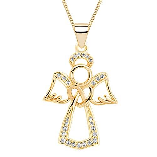 Schutzengel Herz Zirkonia Anhänger mit Halskette 925 Echt Sterling-Silber Gold Damen Mädchen 38-50cm Kette Engel Z56 (Gold/Kristallklar, 45)