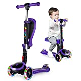 OUTON Scooter for Kids with Folding Seat, 2-in-1 Adjustable 3 Wheel Kick Scooter
