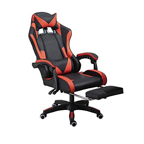 Gaming-Stuhl im Rennstil mit Fußstütze, Armlehnen, verstellbare Liegehöhe, Computerspielstuhl mit Kopfstütze und Lendenwirbelstütze (schwarz und rot)