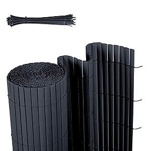 Sekey Estera de PVC, Valla Pantalla, Protección Visual Privacidad para jardín balcón terraza, Resistente a la Intemperie, con Superficie estructurada, con Bridas, 80 x 500 cm, Antracita