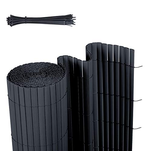 Sekey PVC Sichtschutzmatte Sichtschutzzaun Wetterfest Verstärkt Starke Privatsphäre für Garten, Balkon und Terrasse, mit Strukturierte Oberfläche, mit Kabelbindern, 90 x 500 cm, Anthrazit