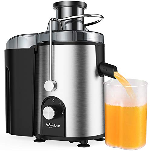"Juicer Machines, Centrifugal Juicers Machine Vegetable and Fruit Juice Extractor, Small Electric Juicer Easy to Clean, Juice Press Maker with 2.4"" Wide Feed Chute, Makoloce 600W Stainless Steel Juicer"