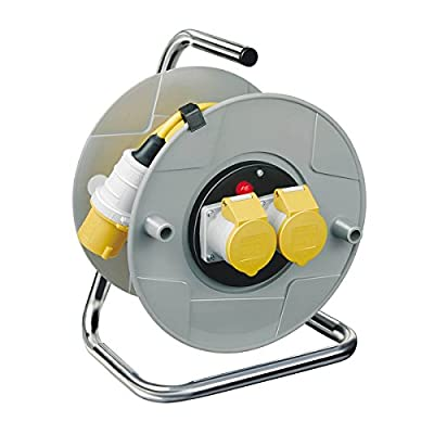 Brennenstuhl Standard 2-socket cable reel (25m extension cord), cable drum with thermal cut-out protection and safety indicator, cable colour: yellow