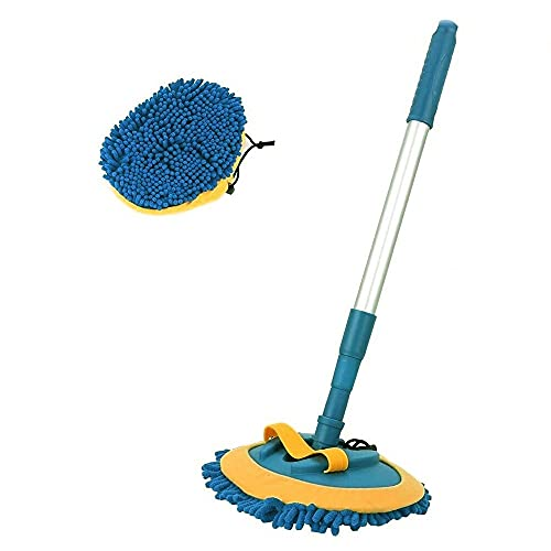 LASD 3-in-1 Wash Mop Mitt 180° Rotation - Retractable Rotating Car Washing Brush Cleaning Mop with Chenille Microfiber Replacement Mop Heads