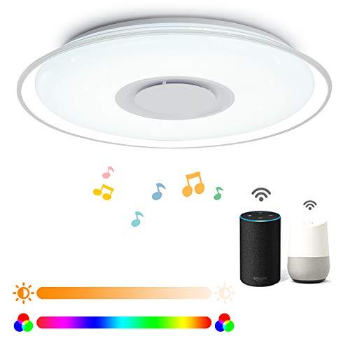 Intelligente LED-Deckenleuchte 52W 4300lm, App- oder Sprachsteuerung, dimmbar und Farbambiente, Bluetooth-Lautsprecher, kompatibel mit Alexa und Google Home (2,4GHz, WiFi, RGB, 3000K-6500K)