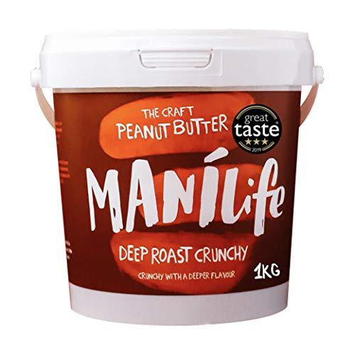 ManiLife Erdnussbutter - Peanut Butter - Alles Natürlich, ein Anbaugebiet, ohne Zuckerzusatz, ohne Palmöl – Deep Roast Crunchy - (1 x 1kg)