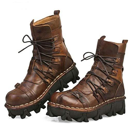 JINGYA Herren Martin Stiefel Echtes Leder Gothic Skull PunkMartin Stiefel Steampunk Schuhe Martin Western Cowboy Motorradstiefel-schwarz/braun (Übergröße),Brown,44