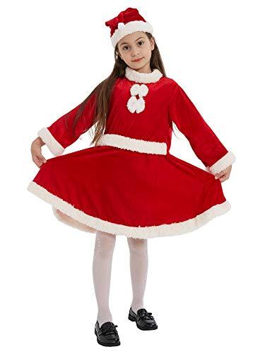 Ezstax - Costume da Babbo Natale, per bambine e ragazzi, 90 anni