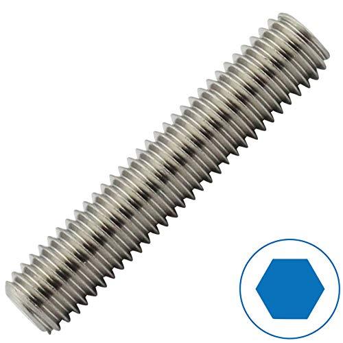 D2D | VPE: 10 Stück - Gewindestifte - Größe: M6 x 50 mm - nach DIN 913 mit Innensechskant (ISK) und Kegelkuppe aus Edelstahl A2 / V2A - Madenschrauben