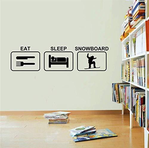 Muursticker Woonkamer Eet Slaap Snowboard Muursticker Vinyl Wonen Cartoon Muurstickers Verwijderbare Kwekerij Kinderkamer Art Decor Muursticker 22x85cm