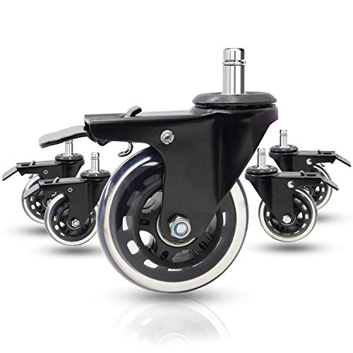 Dr.Luck 3' Office Chair Caster Wheels w/Dual Lock Metal Brake (Set of 5) - Heavy Duty & Safe for All Floors Including Hardwood w/Universal Fit 440 Lbs Total Capacity