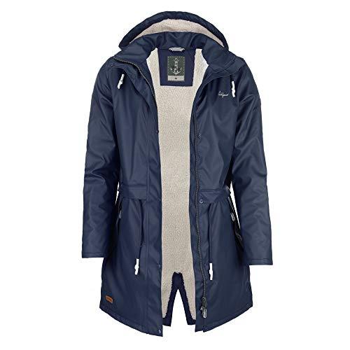 Leitfeuer PU Damen-Regenmantel mit Fleecefutter Farbe dunkelblau, Größe 50