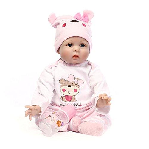 NPKDOLL Reborn Baby Puppe Weich-Simulation Silikon-Vinyl 22inch 55cm Magnetisch Mund lebensechte Nette Kinder Spielzeug Rosa Bär Lucy mit Acrylaugen A1DE