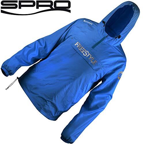 Spro Storm Shield Freestyle Blue - Angeljacke, Anglerjacke für Spinnangler, Jacke für Angler, Windjacke, Regenjacke, Outdoorjacke, Größe:L