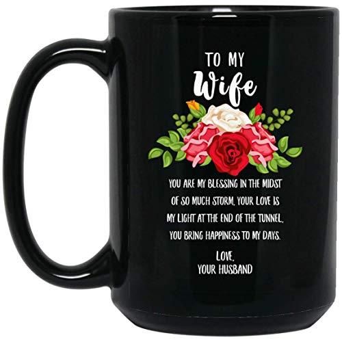 N\A Feliz día de la Madre a mi Esposa, le traes la Felicidad a mis días, Taza de café Negra de 11 oz