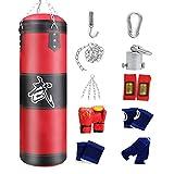 ZWJ Bolsa de Punch Llena Adulto Boxeo Punch Bolsa Colgando Espesado Oxford Paño PU Diez Accesorios Red 60-120cm (Color : Red, Size : 100cm)