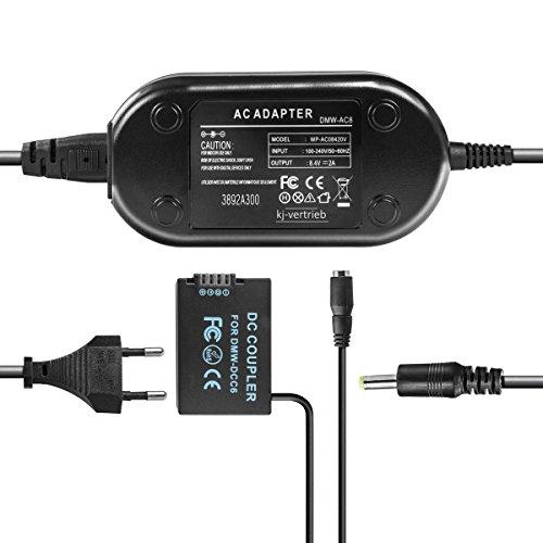 kj-vertrieb Netzteil mit Akkuadapter für Panasonic Lumix DMC-FZ40, DMC-FZ45, DMC-FZ72, DMC-FZ100, DMC-FZ150 - ersetzt DMW-DCC6, DMW-AC8, DMW-AC8EG - 8,4V 2A