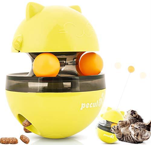 Pecute Juguetes para Gatos Interactivos 4 EN 1 Bolas Educativos de Pelota Dispensadora de Comida Bola Volteadora