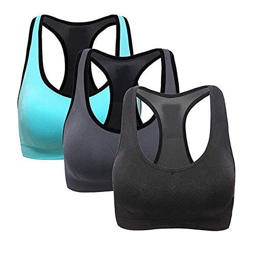 2019 Best Gift!!!Cathy Clara 3PC Women Racerback Sports Bras - High Impact Workout Activewear Bra Modal Underwear