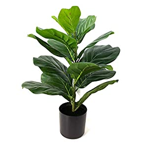 BESAMENATURE 22″ Artificial Mini Fiddle Leaf Fig Tree, Faux Tree Used for Home Office Decoration