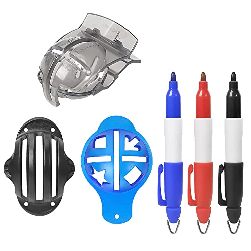 Golf Ball Line Marker Tool, mylovetime Plastic Golf Ball Liner Alignment Tool Including 3 Golf Ball Markers Stencil and 3 Line Markers Pens (6 Pack)